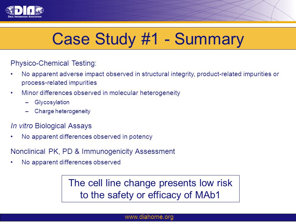 Case Study #1 - Summary Physico-Chemical Testing: