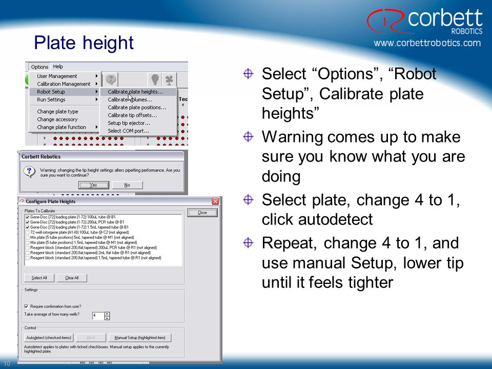 Plate height Select Options , Robot Setup , Calibrate plate heights
