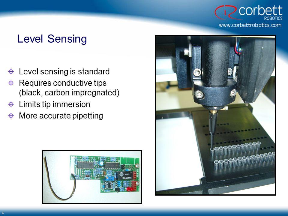 Level Sensing Level sensing is standard