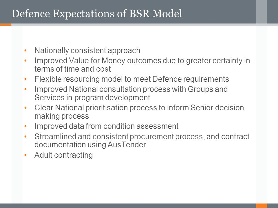 Defence Expectations of BSR Model