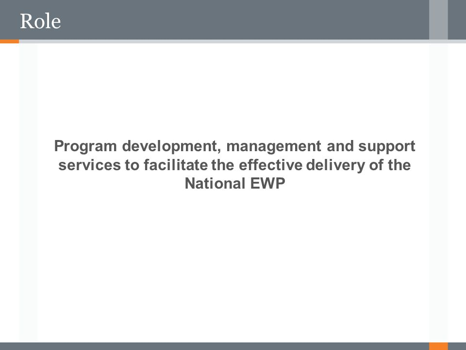 Role Program development, management and support services to facilitate the effective delivery of the National EWP.