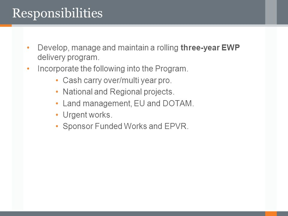 Responsibilities Develop, manage and maintain a rolling three-year EWP delivery program. Incorporate the following into the Program.