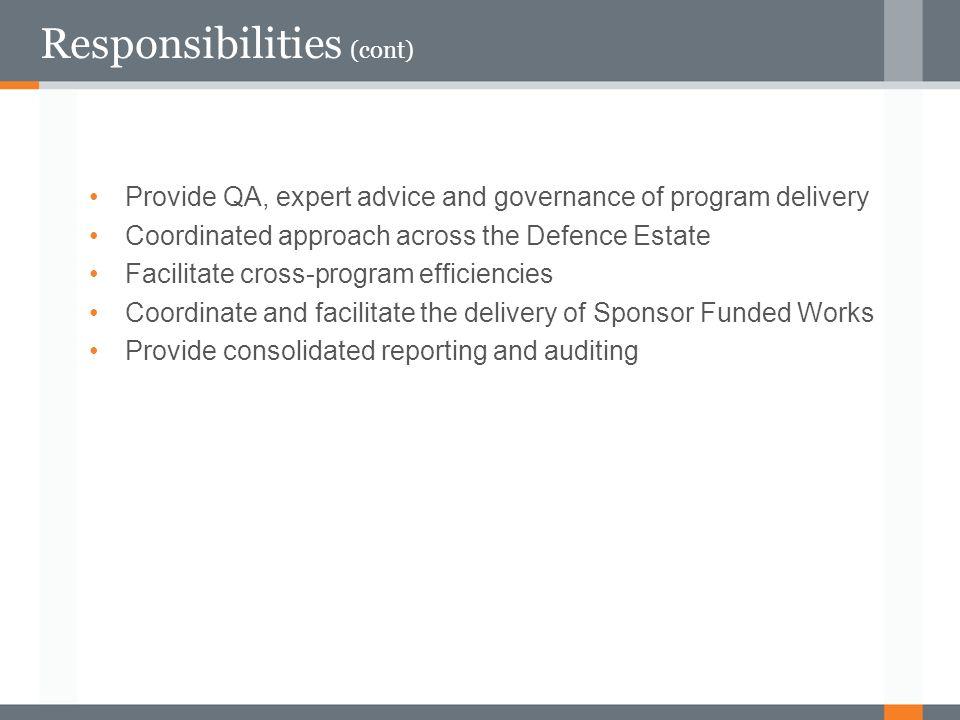 Responsibilities (cont)