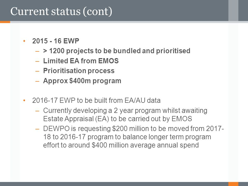 Current status (cont) 2015 - 16 EWP