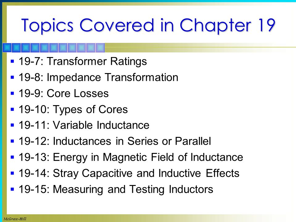 Topics Covered in Chapter 19
