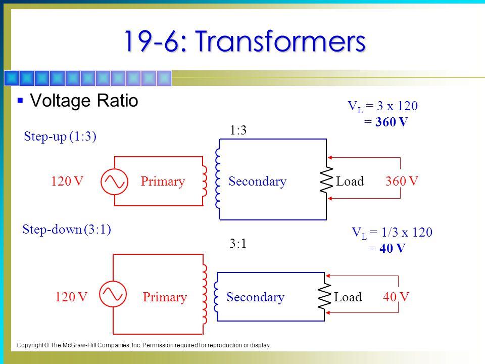 19-6: Transformers Voltage Ratio VL = 3 x 120 = 360 V 3:1 Primary