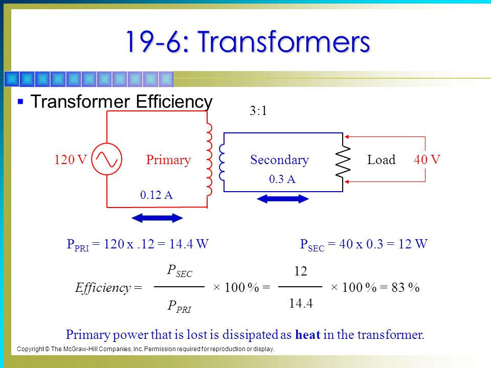 19-6: Transformers Transformer Efficiency Primary Secondary Load 120 V