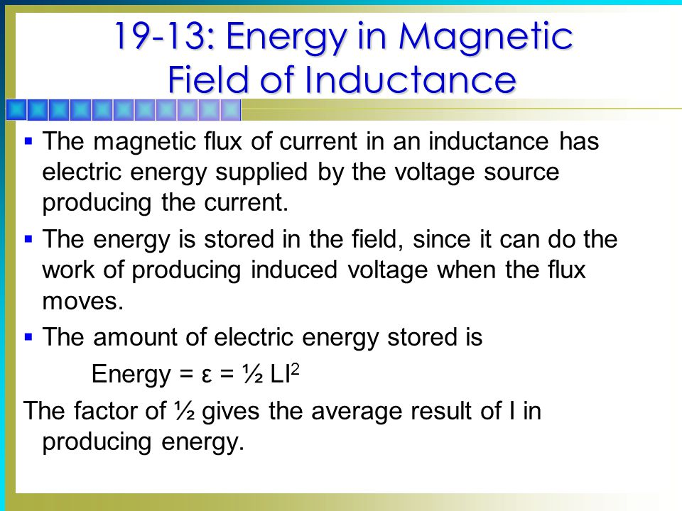 19-13: Energy in Magnetic Field of Inductance