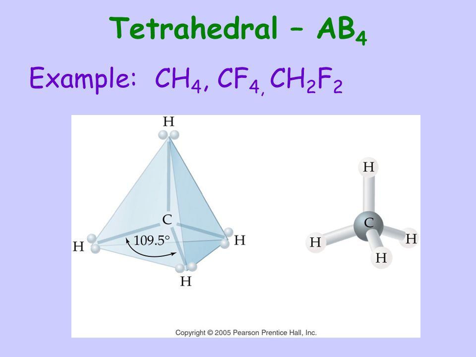 Tetrahedral – AB4 Example: CH4, CF4, CH2F2