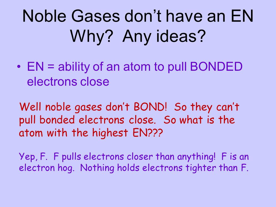 Noble Gases don't have an EN Why Any ideas