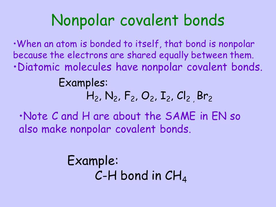 Chemical Bonding Chapt... Nonpolar Covalent Bond Examples