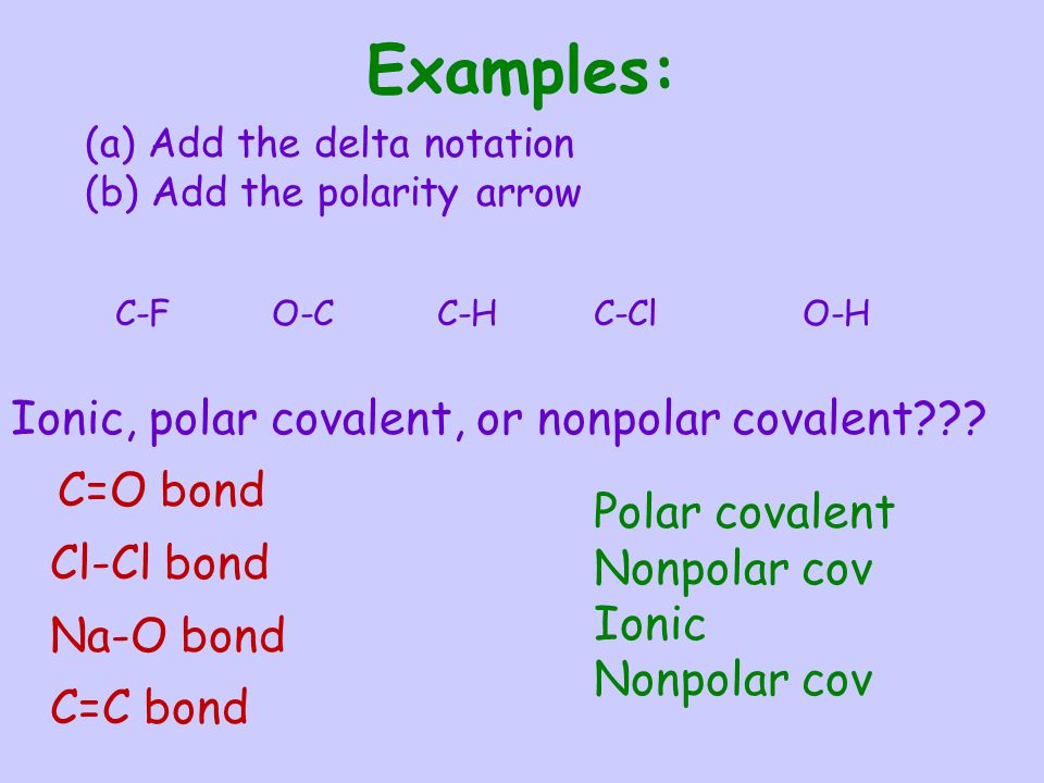 Examples: Ionic, polar covalent, or nonpolar covalent Cl-Cl bond