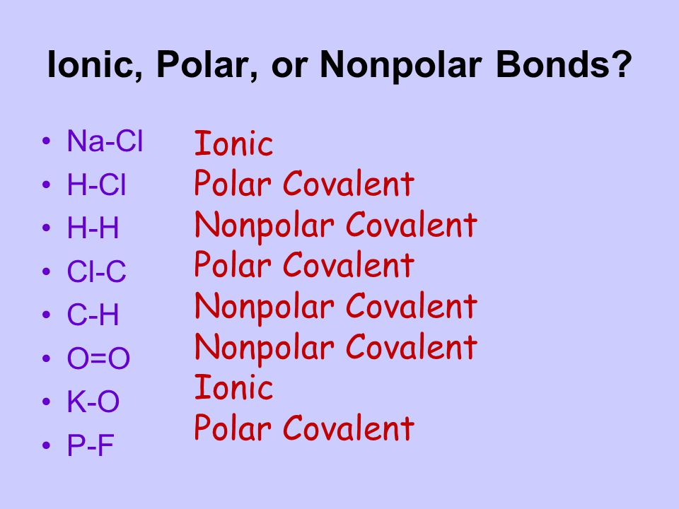 Ionic, Polar, or Nonpolar Bonds