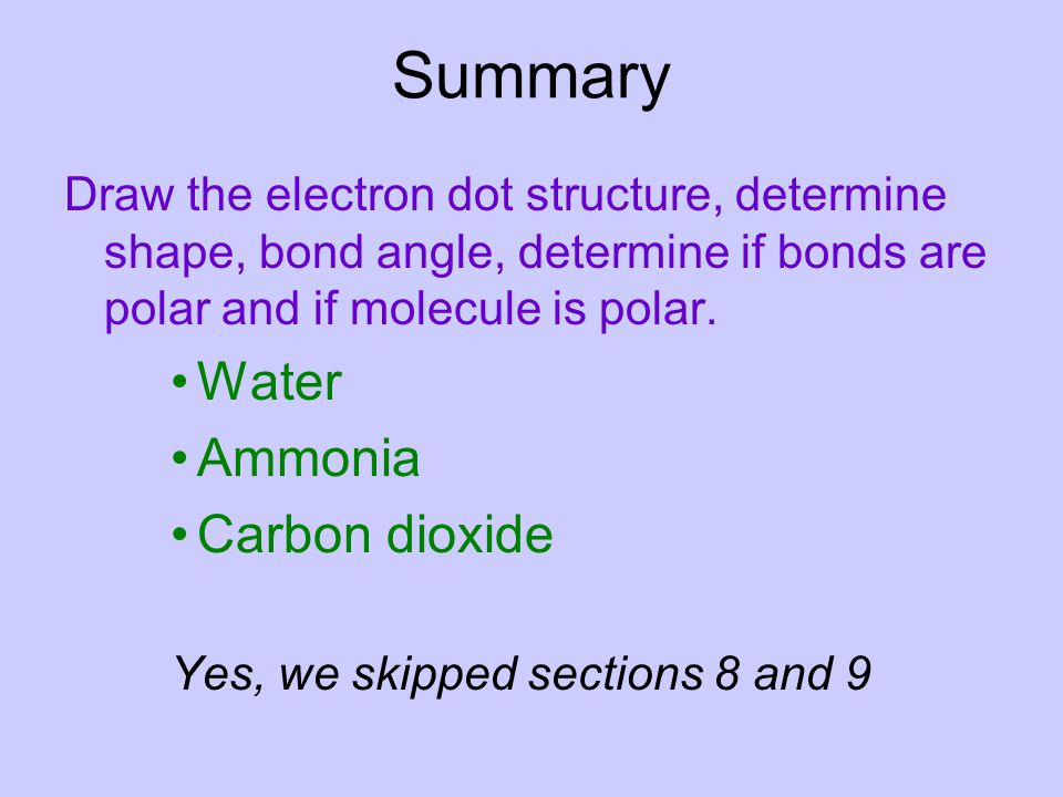 Summary Water Ammonia Carbon dioxide