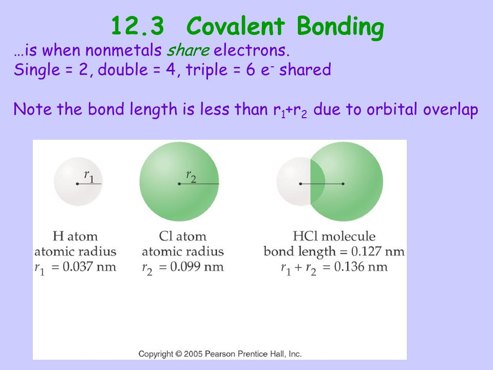 12.3 Covalent Bonding …is when nonmetals share electrons.