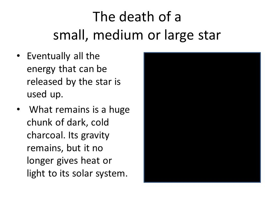 The death of a small, medium or large star