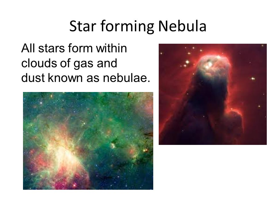 Star forming Nebula All stars form within clouds of gas and