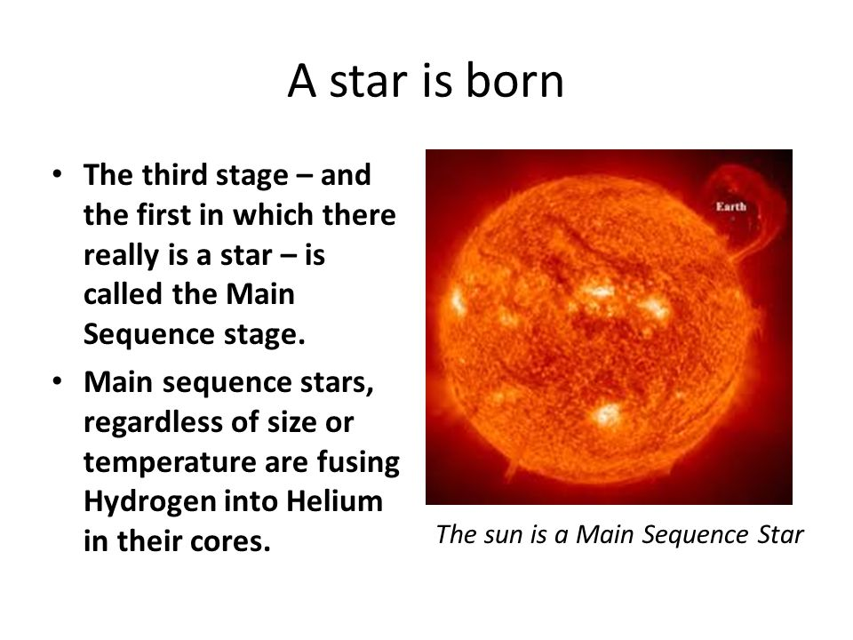 A star is born The third stage – and the first in which there really is a star – is called the Main Sequence stage.