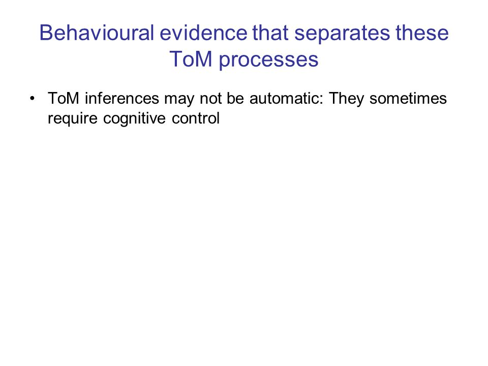Behavioural evidence that separates these ToM processes