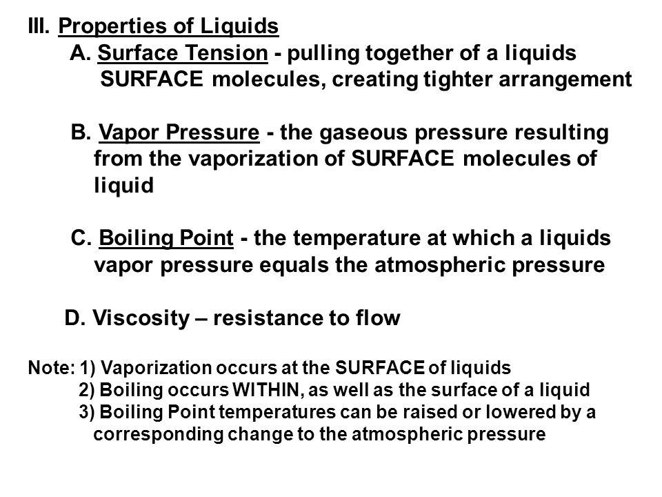 III. Properties of Liquids