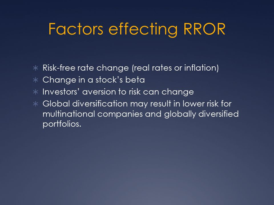 Factors effecting RROR