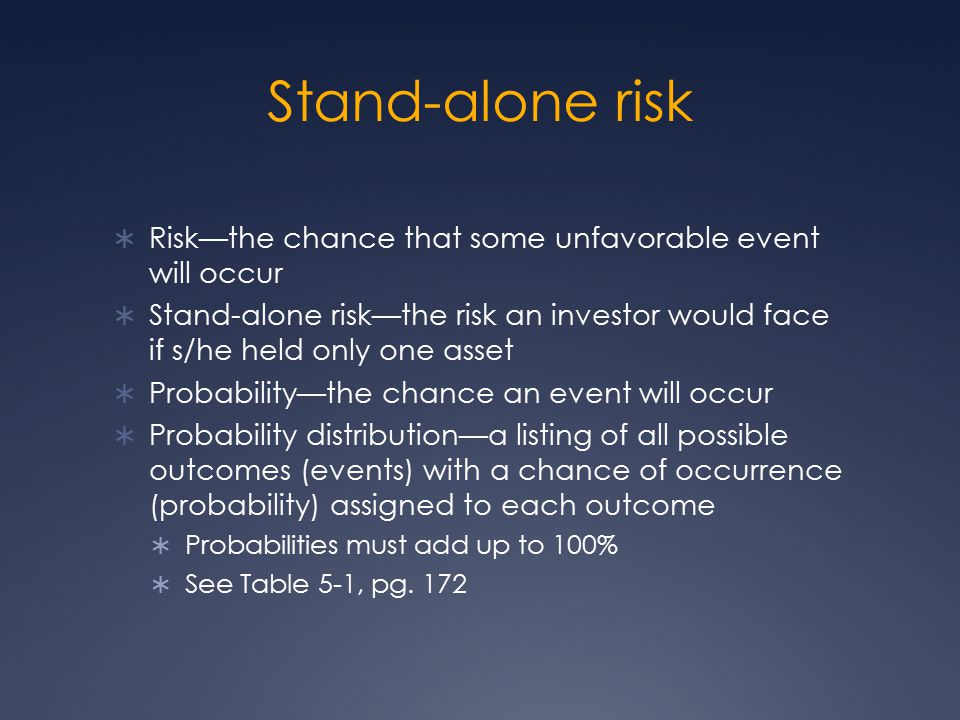 Stand-alone risk Risk—the chance that some unfavorable event will occur.