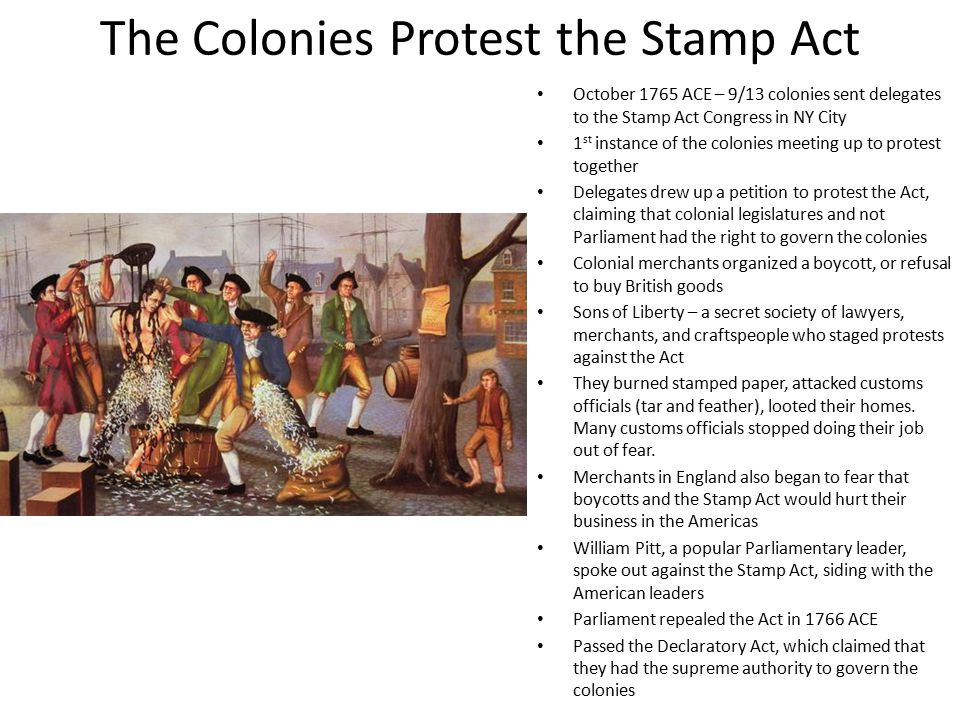 The Colonies Protest the Stamp Act