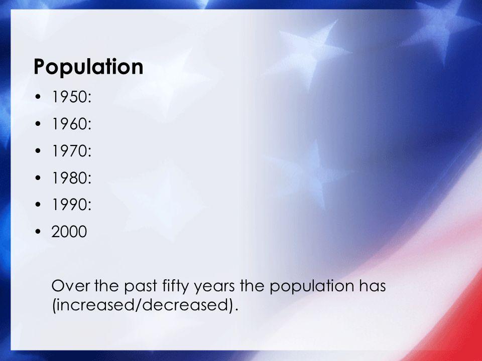 Population 1950: 1960: 1970: 1980: 1990: 2000.