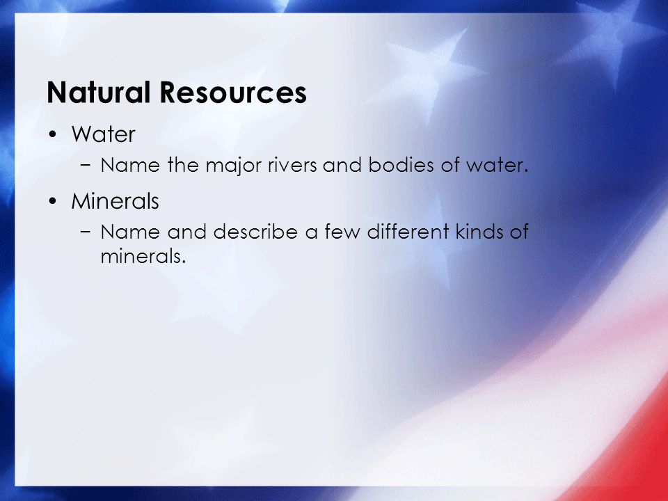Natural Resources Water Minerals