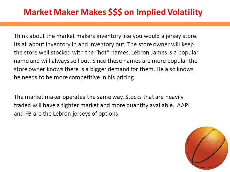 Market Maker Makes $$$ on Implied Volatility