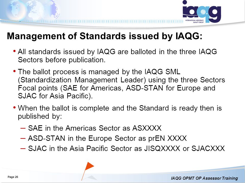 Management of Standards issued by IAQG:
