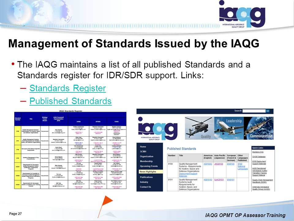 Management of Standards Issued by the IAQG