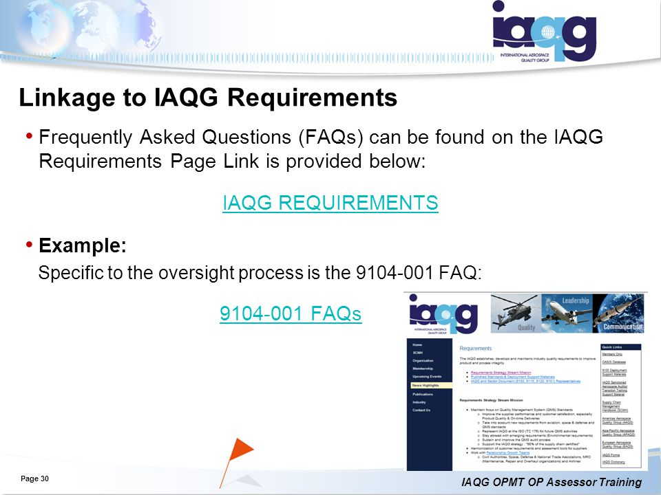 Linkage to IAQG Requirements