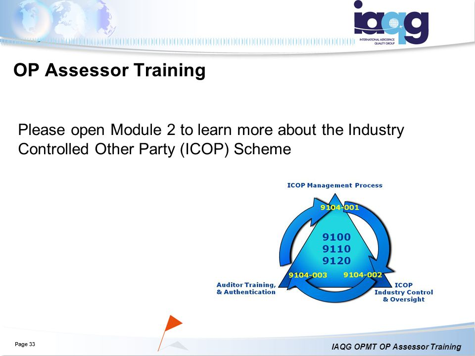 OP Assessor Training Please open Module 2 to learn more about the Industry Controlled Other Party (ICOP) Scheme.