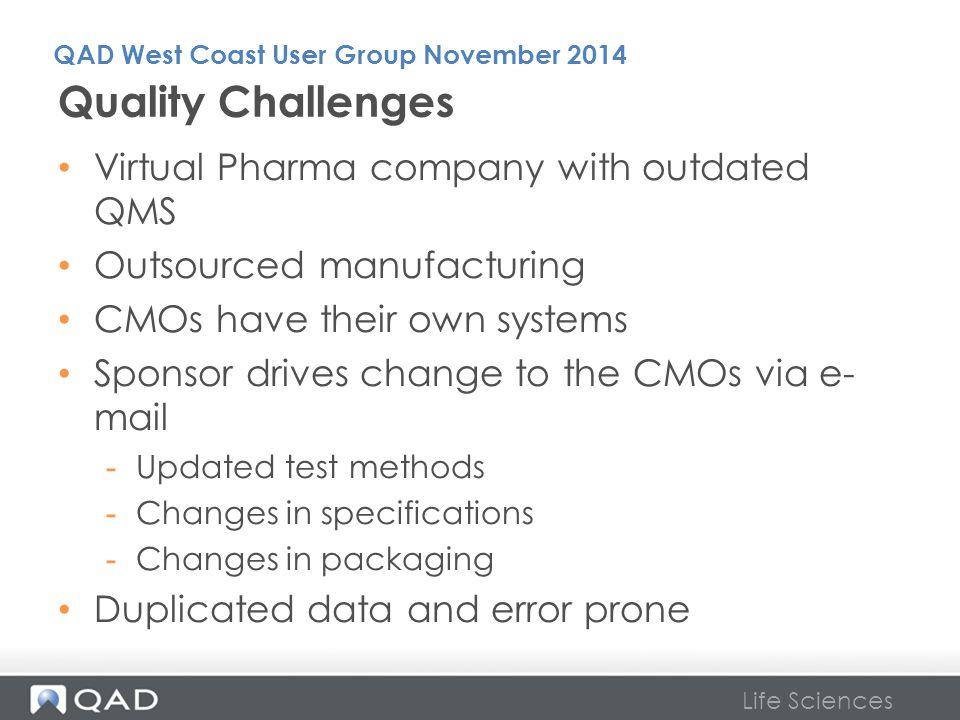 Quality Challenges Virtual Pharma company with outdated QMS