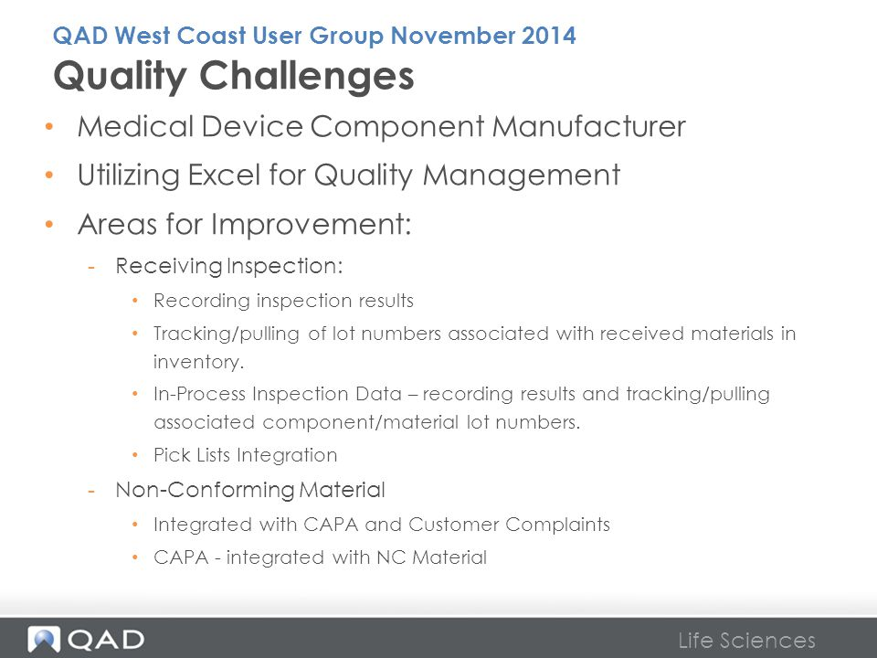 Quality Challenges Medical Device Component Manufacturer