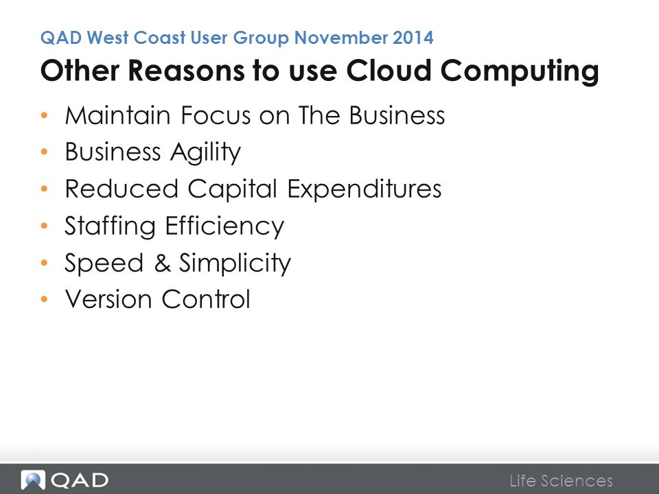 Other Reasons to use Cloud Computing
