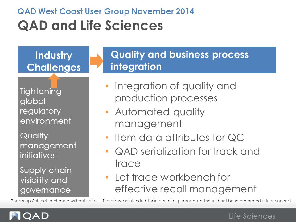QAD and Life Sciences Industry Challenges