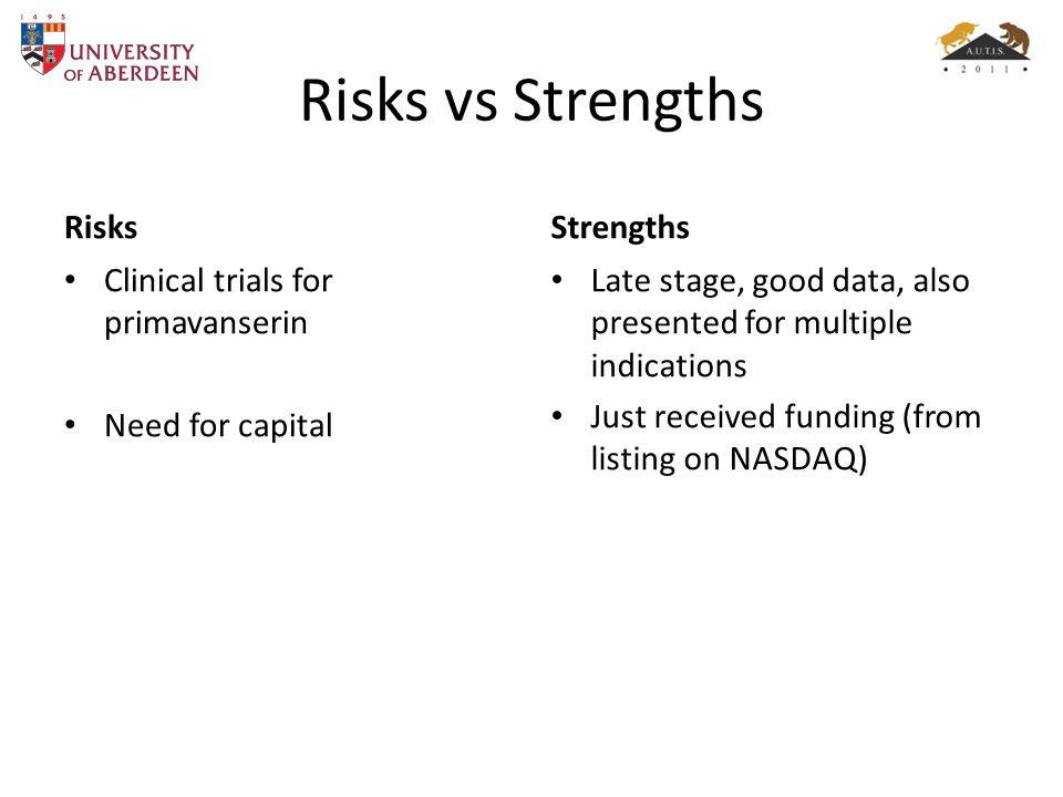 Risks vs Strengths Risks Strengths Clinical trials for primavanserin