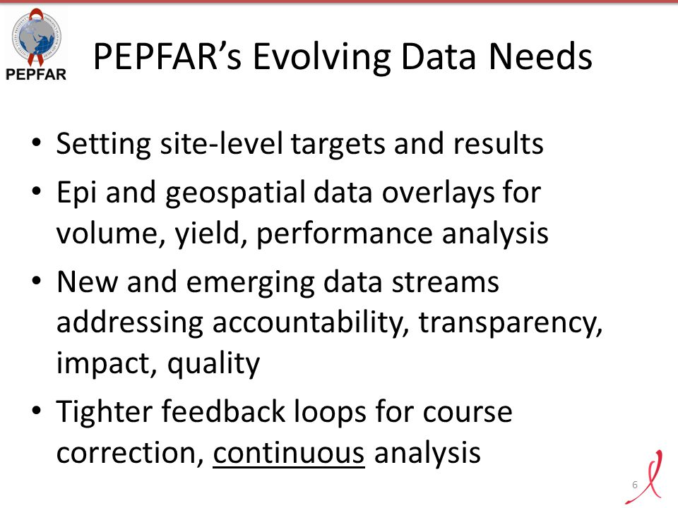 PEPFAR's Evolving Data Needs