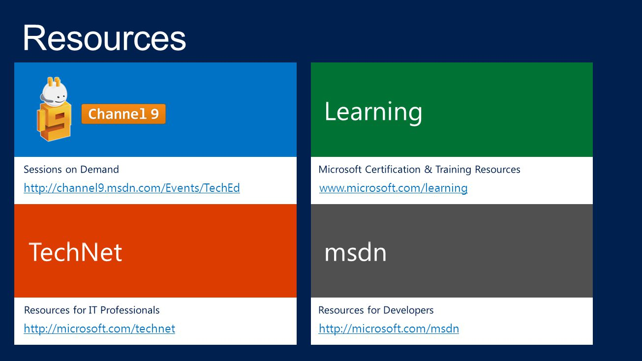 Resources Learning TechNet msdn http://channel9.msdn.com/Events/TechEd