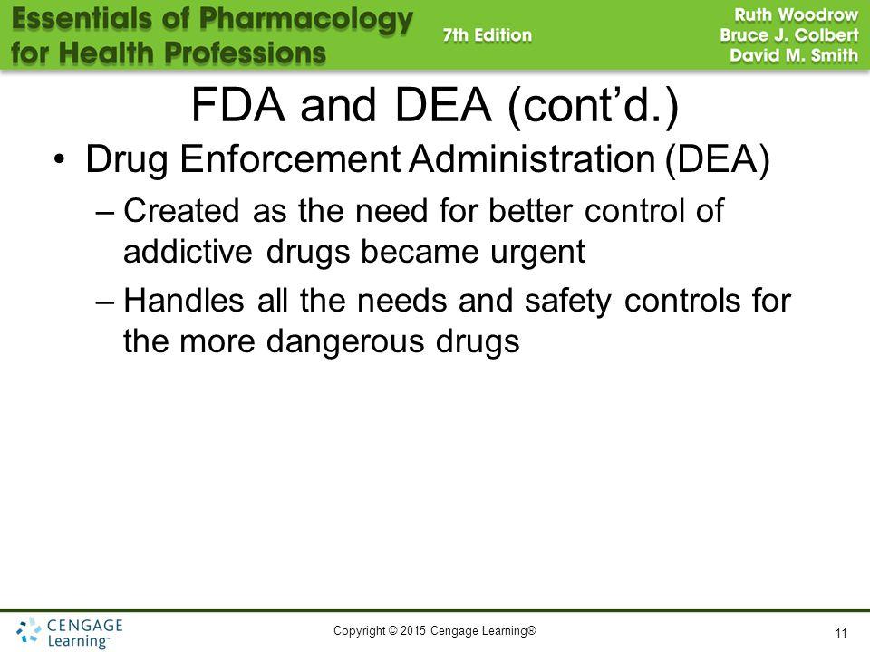 FDA and DEA (cont'd.) Drug Enforcement Administration (DEA)