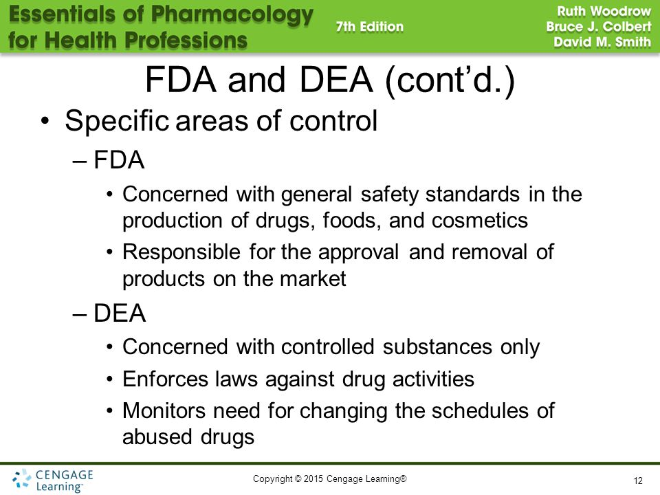 FDA and DEA (cont'd.) Specific areas of control FDA DEA
