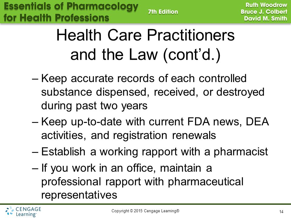 Health Care Practitioners and the Law (cont'd.)