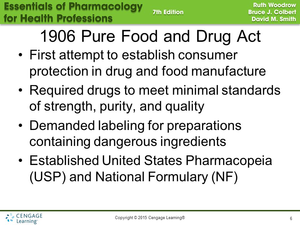 1906 Pure Food and Drug Act First attempt to establish consumer protection in drug and food manufacture.