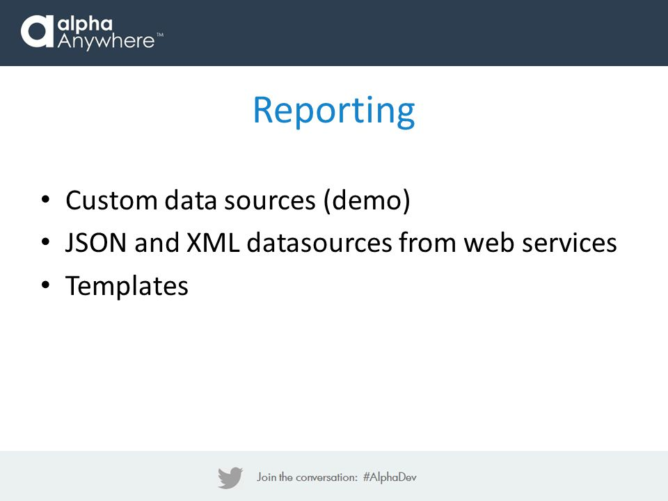 Reporting Custom data sources (demo)