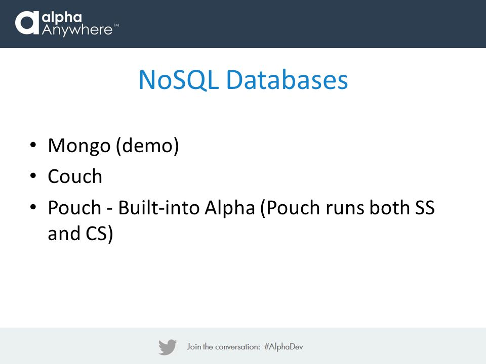 NoSQL Databases Mongo (demo) Couch