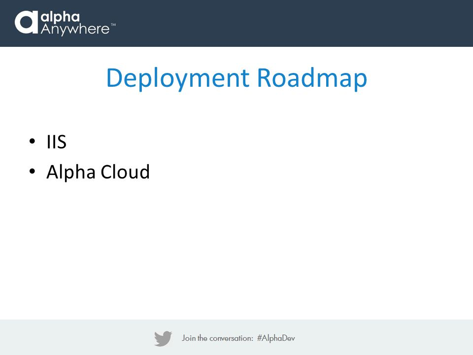 Deployment Roadmap IIS Alpha Cloud