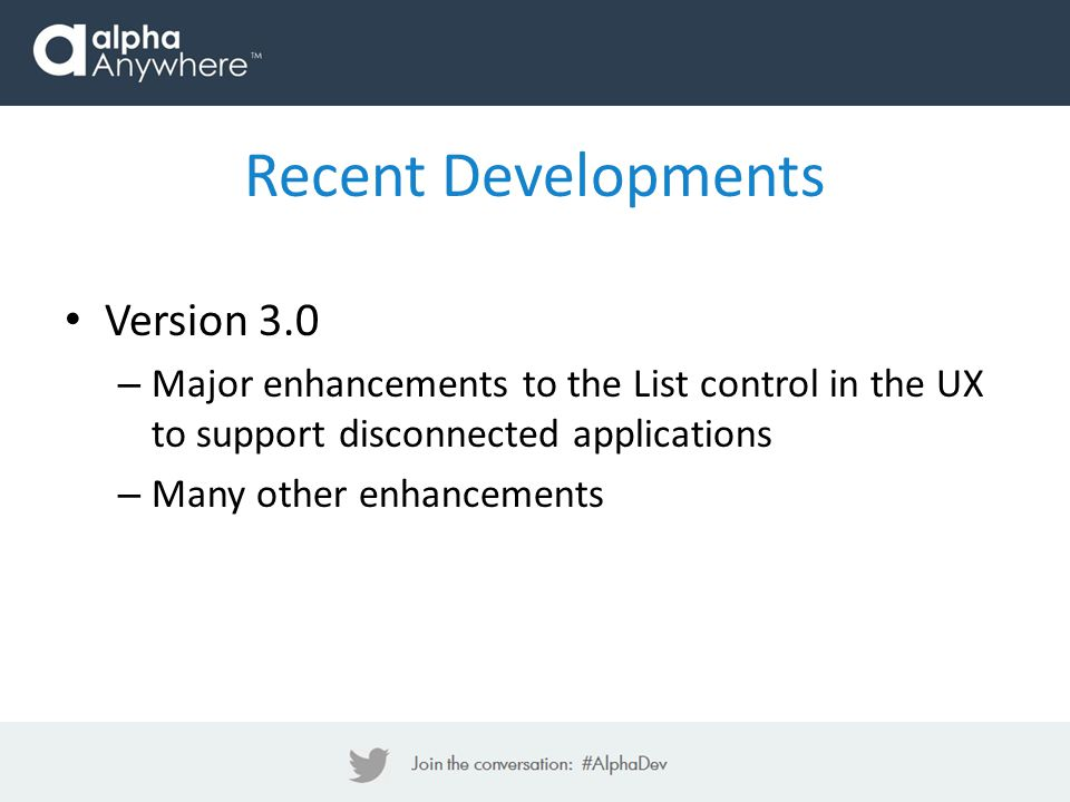 Recent Developments Version 3.0