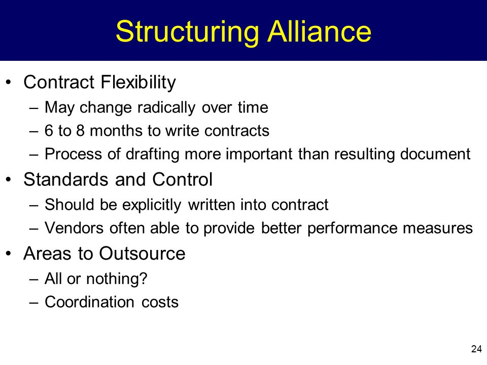 Structuring Alliance Contract Flexibility Standards and Control